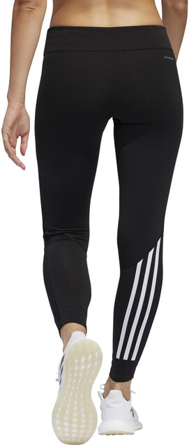 adidas Running Response Three Stripe Leggings In Black And Pink